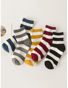 5 Pairs Striped Two Tones Socks Set - Multi-a