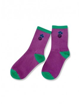 Chic Cherry Pattern Cotton Socks - Purple