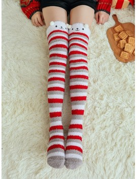 Christmas Suede Thigh High Socks - Gray