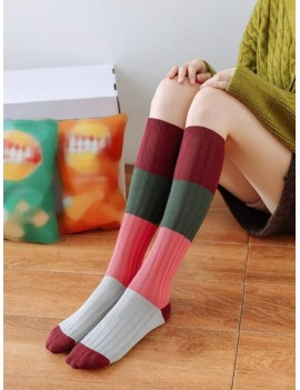 Color-blocking Calf Length Socks - Red Wine