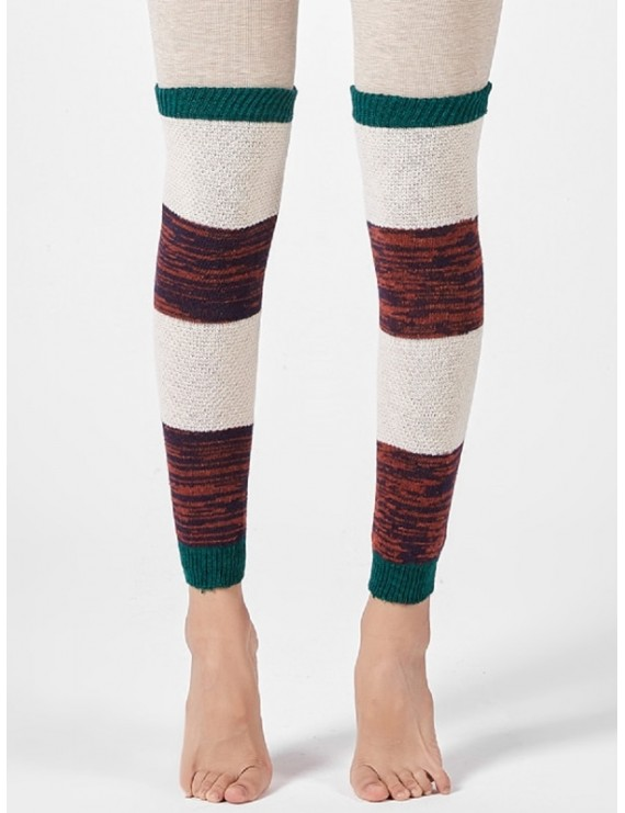 Striped Knitted Winter Sleeve Socks - Green