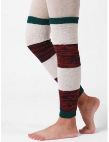 Striped Knitted Winter Sleeve Socks - Green