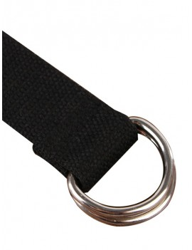Double Ring Decoration Knitted Waist Belt - Black