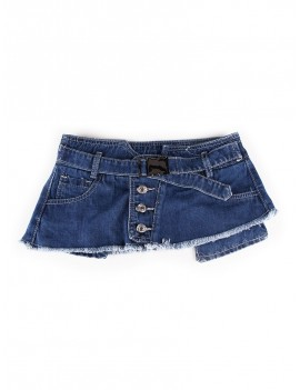 Button Mini Skirt Design Denim Belt - Deep Blue