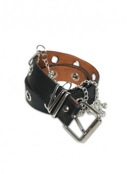 Grommet PU Leather Chain Embellished Waist Belt - Black