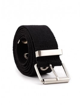 Grommet Buckle Cloth Belt - Black
