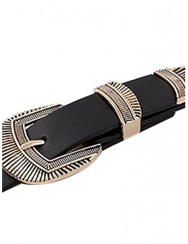 Double-head Vintage Carved Buckle Belt - Black