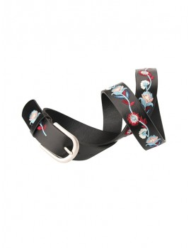 Embroidery Flower Belt - Black