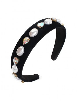 Artificial Pearl Rhinestone Water Drop Hairband - Black