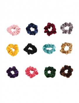 12Pcs Elastic Fleece Scrunchies Set - Multi-a
