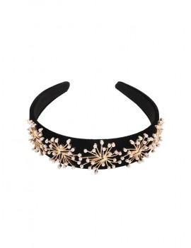 Artificial Pearl Hairband - Black