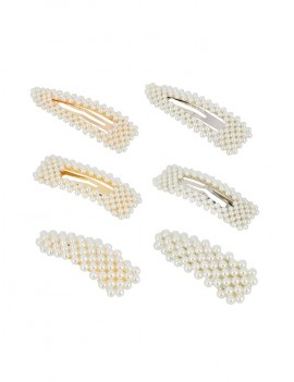 6Pcs Geometric Faux Pearl Hairgrip Set - White