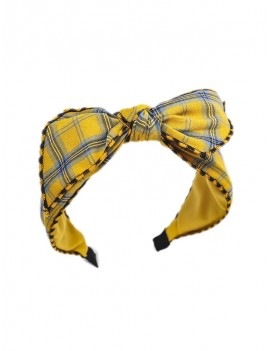 Bowknot Chic Plaid Hairband - Yellow