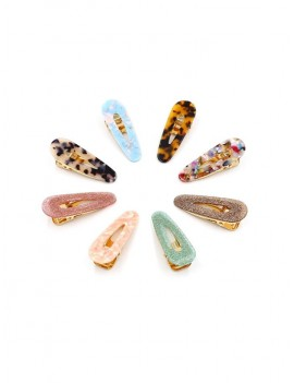 8Pcs Leopard Water Drop Hairgrip Set - Multi