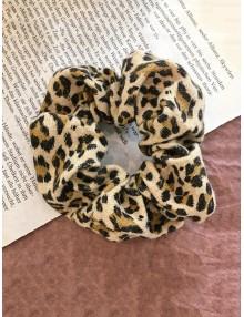 Leopard Pattern Elastic Fabric Scrunchy - Apricot