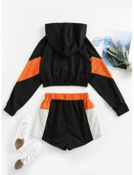 Colorblock Hooded Drop Shoulder Shorts Set - Multi-c L