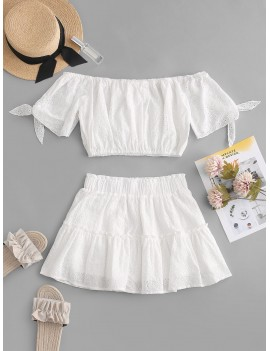 Broderie Anglaise Tied Crop Blouse And Skirt Set - White S