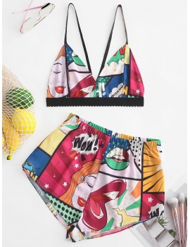 Color Block Printed Cami Crop Top And Shorts Set - Multi S