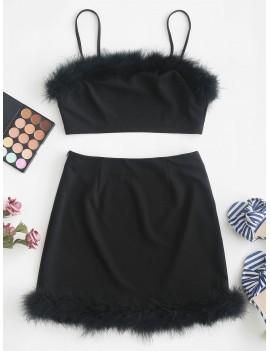 Feather Trim Crop Cami Two Pieces Suit - Black S