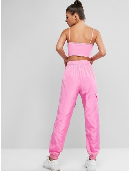 Cami Buckle Pocket Two Piece Jogger Pants Set - Hot Pink M