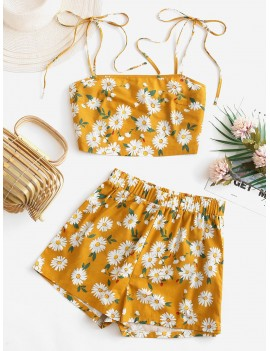 Daisy Floral Tie Shoulder Cami Top And Shorts Set - Orange Gold M