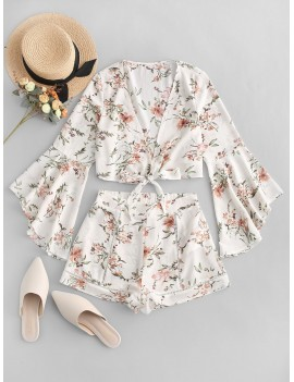 Flare Sleeves Floral Print Knotted Two Pieces Suit - White M