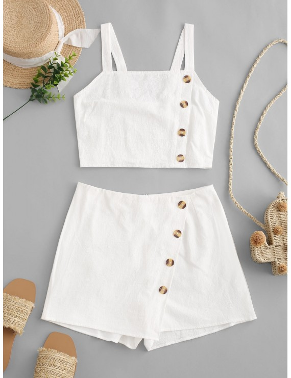 Buttons Smocked Overlap Two Pieces Suit - White M