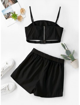 Buckle Zip Pocket Belted Two Piece Shorts Set - Black S