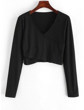 Crossover Ribbed Crop Top - Black L
