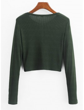 Henley Cropped Knit Tee - Fern Green S