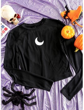 Moon Graphic Skinny Crop Top - Black S
