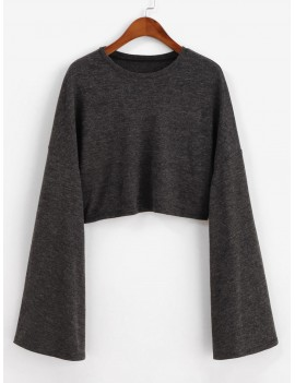 Drop Shoulder Flare Sleeve Crop Tee - Carbon Gray M