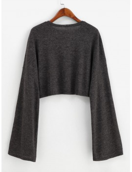 Drop Shoulder Flare Sleeve Crop Tee - Carbon Gray M