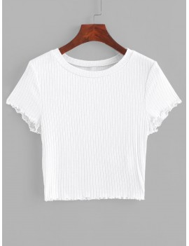 Lettuce Trim Ribbed Knit Cropped Tee - White S
