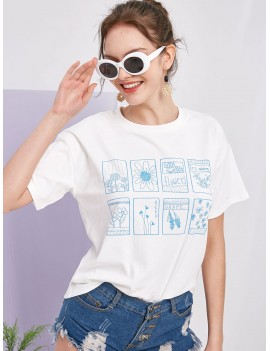 Floral Plant Fruit Graphic Basic Tee - White S