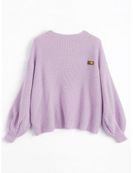 Oversized Chevron Patches Pullover Sweater - Wisteria Purple