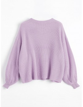 Oversized Chevron Patches Pullover Sweater - Wisteria Purple