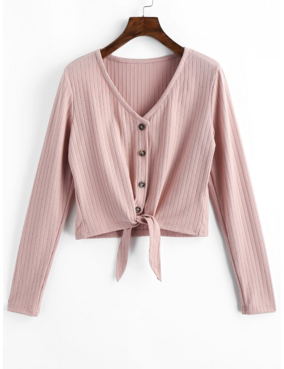 Button Up V Neck Tie Front Ribbed Cardigan - Pink S