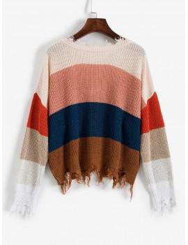 Colorblock Ripped V Neck Sweater - Multi-a M