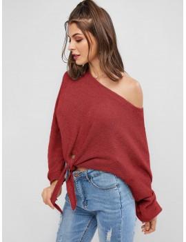 Self-tie Oversized Sweater - Cherry Red S