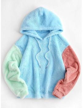 Colorblock Drop Shoulder Faux Fur Hoodie - Multi-a Xl