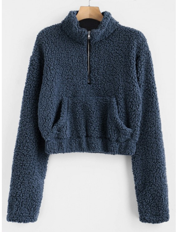Half Zip Fluffy Faux Shearling Teddy Sweatshirt - Cadetblue L