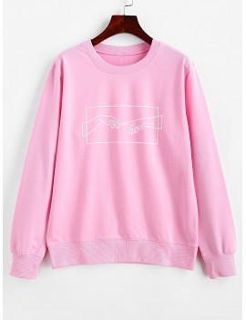 Hands Graphic Basic Pullover Sweatshirt - Pink L