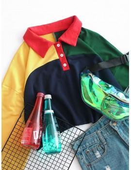 Colorblock Half Button Crop Sweatshirt - Multi M