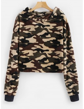 Camouflage Loose Faux Fur Hoodie - Acu Camouflage S