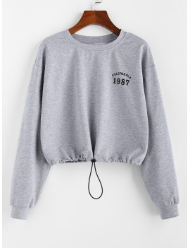 Toggle Drawstring Graphic Drop Shoulder Sweatshirt - Light Gray M