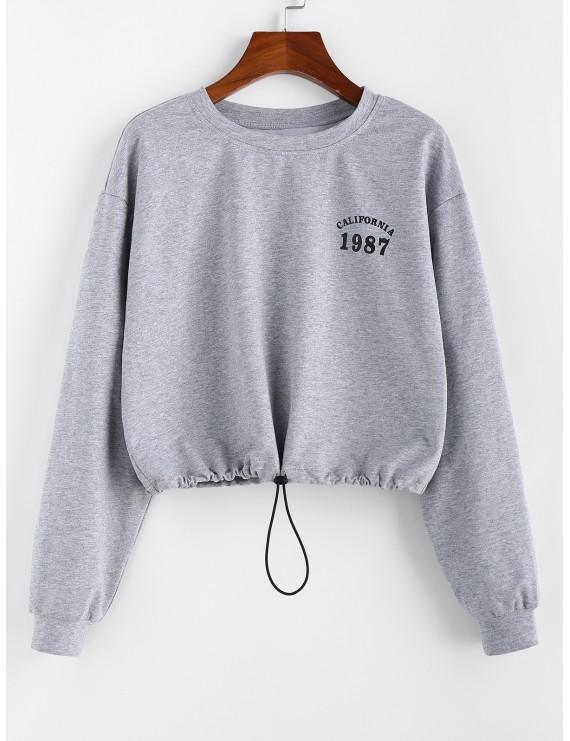 Toggle Drawstring Graphic Drop Shoulder Sweatshirt - Light Gray M