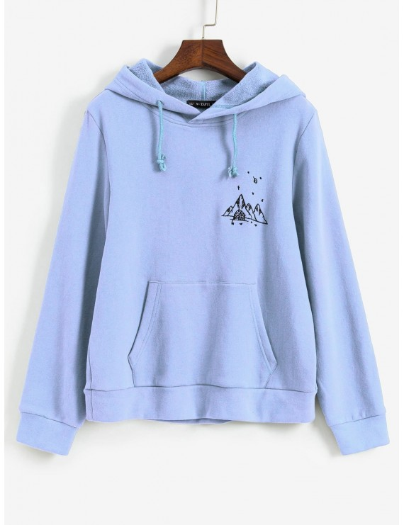 Embroidered Fleece Lined Kangaroo Pocket Hoodie - Day Sky Blue M