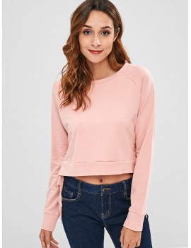 Round Neck Side Lace Up Sweatshirt - Pink M
