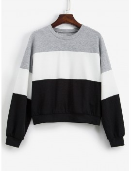 Color-blocking Contrast Drop Shoulder Sweatshirt - Multi-a S